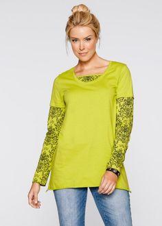 Le T-shirt manches longues 2en1, bpc bonprix collection, pistache imprimé