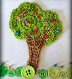 Aplique de Árvore em Crochê -  /  Apply in Tree with Crochet -