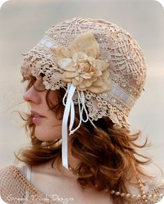 Heirloom Lace Flapper Cap - GreenTrunkDesigns