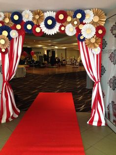 Entry piece, red and white, paper flower, pinwheel, vintage circus / carnival theme, formal.