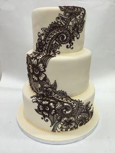 Hand painted Mehndi wedding cake!