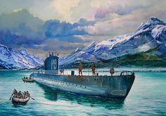 Submarino Junon 1937, de las Fuerzas Navales Francesas Libres (FNFL) en la Operación Musketoon, desembarcando un comando anglo-noruego en Glomfjord para destruir una instalación hidroeléctrica en ese fiordo noruego en 1942