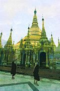 "New artwork for sale! - "" Shwedagon Golden Pagoda Monks  by PixBreak Art "" - http://ift.tt/2lENh5E"