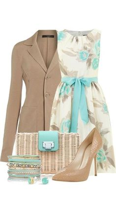 Blazer and earrings and dress and belt