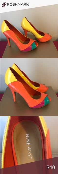 Nine West Vibrant Colorblock Peeptoe Pumps These heels will be the life of the party! I like them paired with a contrasting color like a turquoise dress but they're a smashing addition to a neutral outfit too. Worn once, in great condition. I no longer have original box. Nine West Shoes Heels