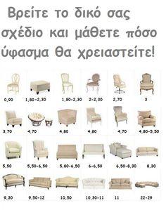 ΠΟΣΑ ΜΕΤΡΑ ΧΡΕΙΑΖΕΣΤΕ ΓΙΑ ΚΑΛΥΜΜΑΤΑ Αναλυτικοί πίνακες με όλους τους τύπους σαλονιών, καναπέδων, καρέκλες τραπεζαρίας, γραφείου, βεράντας και άλλα!!!! Βρείτε του τύπο των δικών σας επίπλων και μάθετε πόσα μέτρα χρειάζεστε!!! Τα μέτρα που αναγράφονται σε κάθε τύπο και σχέδιο, αφορούν βεβαίως το ύφασμα που χρειάζεται , δεν μας δίνει όμως διαστάσεις και μέγεθος του... Kai, Knitted Baby Clothes, Love Sewing, Crochet Crafts, Slipcovers, Sewing Hacks, Good To Know, Baby Knitting, True Love