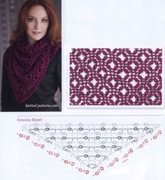 m_024-1 (637x700, 431Kb) Crochet Collar, Crochet Poncho, Knitted Shawls, Crochet Scarves, Crochet Clothes, Crochet Stitches, Free Crochet, Crotchet Patterns, Granny Square Crochet Pattern