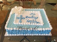 Elegant baptism cake. Visit us Facebook.com/marissascake or www.marissascake.com