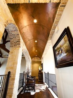One swanky shop: Western home design with amazing copper barrel ceiling