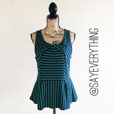 "Leifnotes Slantwise Stripe Peplum Tank By Leifnotes. From Anthropologie. Navy and green stripe peplum tank. Size L. Bust is 18"" across. Length is 26."" 100% cotton. Lightweight. This would look so cute with skinny jeans and gladiator sandals. Excellent condition - practically brand new. Thanks for looking! Anthropologie Tops Tank Tops"