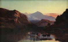 """PERCY, Sidney Richard. Oil on Canvas. """"Llyn y"""