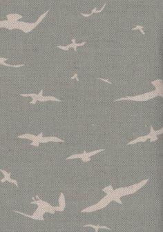 Seagulls fabric, Samphire Green - Peony  Sage
