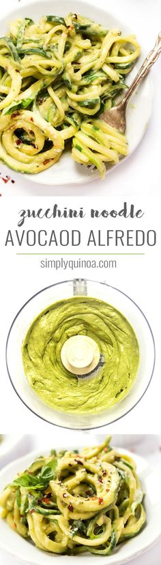 This easy AVOCADO ALFREDO is a twist on the classic but doesn't use any dairy. To lighten things up even more we're using zucchini noodles instead of pasta!