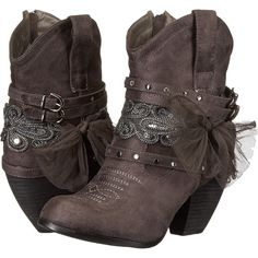 Not Rated Stash (Grey) Women's Pull-on Boots ($40) ❤ liked on Polyvore featuring shoes, boots, ankle booties, ankle boots, grey, studded ankle boots, studded booties, gray booties, bootie boots and not rated boots