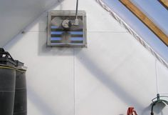 Bradford Research Center // Passive Solar Greenhouse Buy Greenhouse, Diy Greenhouse Plans, Home Furnace, Concrete Pad, Metal Siding, Door Insulation, Passive Solar, Research Centre, Heating And Cooling