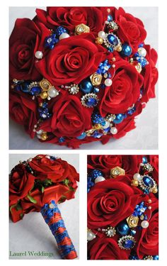 red and blue bouquet   Bridal Bouquet Silk Red Roses Blue Jewels Diamante Pearls And Pictures