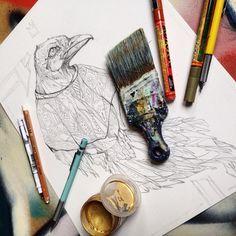 https://flic.kr/p/RVyvJY | biggie crow tattoo design | tattoo design for a client - a raven crow in a biggie smalls style coogi sweater. 2016    INSTAGRAM
