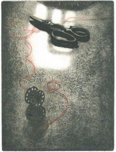 "Mayumi Takagi ""A Red Thread"" 2009. Etching and aquatint, 8 x 6 in."