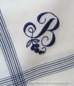 Hand Embroidered Monogram B barbarasangi Embroidery Letters, Ribbon Embroidery, Cross Stitch Embroidery, Machine Embroidery, Embroidery Designs, Bordados E Cia, Monogrammed Napkins, Linens And Lace, Monogram Letters