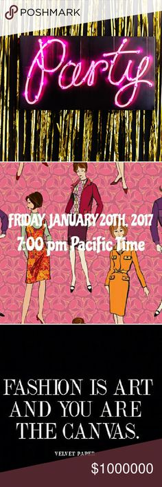 10 Days Away! POSHMARK PARTY! I'm super excited to announce that I will be hosting my second Posh Party on Jan. 20th, 2017 at 7 pm Pacific Time (or for my fellow Central Time Poshers, 9pm)! Please like this listing to be notified of updates, including party theme. If you'd like to be considered for a HOST PICK, make sure you like and share this listing as well as have a Poshmark compliant closet (and sharing some of my additional listings always helps draw me to your closets). Get ready for…