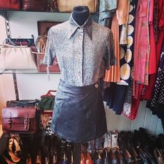 Cute glittery shirt and mini leather skirt. Shirt size 12 £14. Skirt size 8/10 £15. #skirt #shirt #glitter #sparkle #leather #black #miniskirt #60s #1960s #twiggy #unique #style #stylish #trend #fashion #vintage #retro #vintagefashion #vintageguruscotland #twitter #tumblr #byresroad