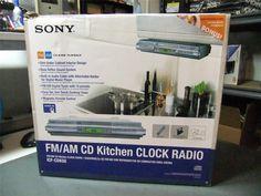 Sony ICF-CDK50 under the counter mount CD player Kitchen Clock Radio #Sony