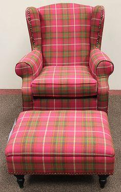 New Next Sherlock Gosford Armchair & Footstool - Pink Tartan Anta Harris Tweed | eBay