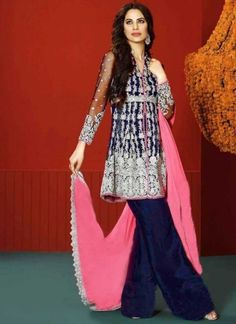 Navy Blue Pink Embroidery Resham Work Georgette Designer Pakistani Palazzo Suit http://www.angelnx.com/Salwar-Kameez/Pakistani-Suits