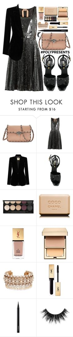 """""""#PolyPresents: Party Dresses"""" by alaria ❤ liked on Polyvore featuring Valentino, N°21, L'Agence, Yves Saint Laurent, Witchery, Chanel, Clarins, Marchesa, MAC Cosmetics and contestentry"""