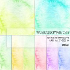 SALE: Watercolor Scrapbooking Paper Digital Papers Soft Pastel Colors. Watercolor Clipart Texture Pack Wallpapers Backgrounds Clip Art by LinePush on Etsy