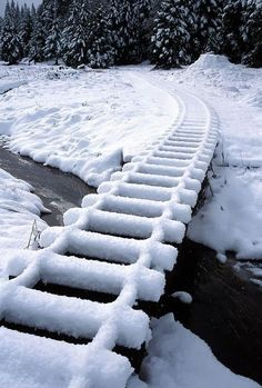 Snow covered tracks outdoors nature winter snow cold ice railroad tracks