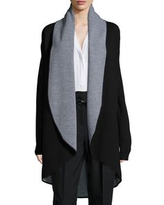 Contrast Draped Wool Coat by Milly at Neiman Marcus.