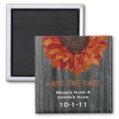 Fall Wedding Save The Date - Barnwood & Sunflower Magnet