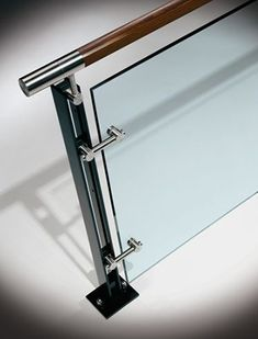 Installation of glass handrail in Baltimore Staircase Glass Design, Balcony Glass Design, Glass Balcony Railing, Steel Railing Design, Balcony Grill Design, Modern Stair Railing, Balcony Railing Design, Glass Stairs, Modern Stairs