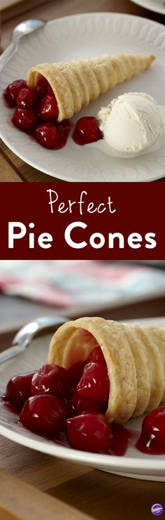 Perfect Pie Cones Recipe - Pies and other desserts are extra fun when they're hand-held cone shapes. Strips of refrigerated pie crust are baked around an ice cream cone, then filled with a myriad of dessert fillings: fruit, mousse, whipped cream, even ice cream! Makes 6 cones!