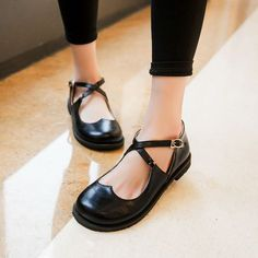 Womens Flat Platform Buckle Mary Jane Pumps Casual Fashion New SHoes Plus Size #other #MaryJanes