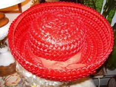 Vintage 1960s Red Straw Brim Hat Designed by LavenderPathAntiques, $34.00