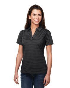 2b61b8a4835 Womens Polyester Y. stripe Johnny Collar Knit shirt w side vents.