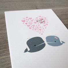 Wedding Card. Love Card  Forever Love Whale Card. by NoteAndEmote, $3.50 Those whales are getting married