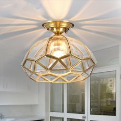 Glam up your home with this impressive semi flush mount ceiling light. This ceiling light blends classic, rustic design with stunning visual aesthetics. It features a diamond shaped clear glass dome shade that is nested in a high quality solid Chandelier Bedroom, Gold Chandelier, Bedroom Ceiling, Chandeliers, Ceiling Fixtures, Light Fixtures, Ceiling Lamps, Glass Ceiling, Ceiling Lighting