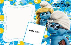 The Smurfs Free: Printable Invitations or Photo Frames. Free Printable Invitations, Party Printables, Free Printables, Foto Frame, Barbie Theme, Photo Birthday Invitations, Blogger Templates, Ideas Para Fiestas, Christening