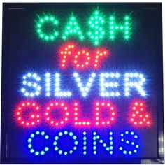Large 19x19 Cash for Silver Gold & Coins LED Open Coin Pawn Shop Store Sign neon #AhhaProdcuts