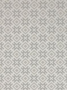 Hicksonian Wallpaper A printed wallpaper designed by David Hicks featuring an orthogonal geometric design in dove grey on a white background.