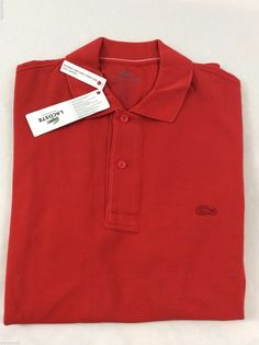Lacoste Mens Polo Shirt Brand New with Tags Red Pompier Size EU 6 US L