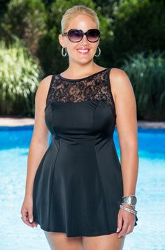 Longitude's Sheer Love Plus Size Swim dress's A line silhouette, along with the princess seaming would be flattering for many women & is available in sizes 16W to 24W at Always for Me! 2/9/15