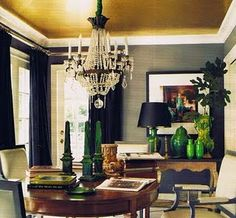 Love the gold ceiling and the silk grasscloth wallpaper.