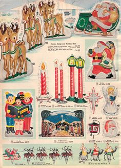 Vintage 1956 Outdoor Christmas Holiday Decor from Sears Retro Christmas Decorations, Vintage Christmas Images, Old Christmas, Old Fashioned Christmas, Vintage Christmas Ornaments, Christmas Books, Vintage Holiday, Christmas Crafts, Christmas Adverts