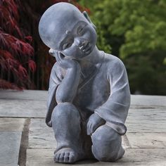 Alfresco Home Thinking Buddha Garden Statue