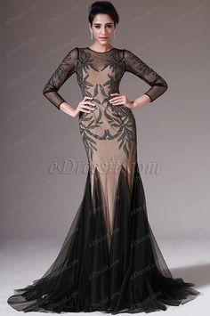 eDressit 2014 New Black&Light Brown Long Sleeves Evening Prom Dress(02145200) #edressit #fashion #dresses #eveningdresses #longsleevesgowns