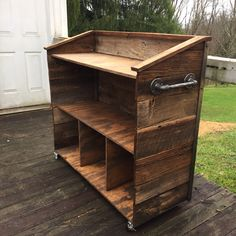 Rustic host stand for a restaurant